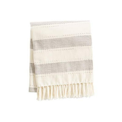 Mud Pie CHAMBRAY STRIPE BLANKET