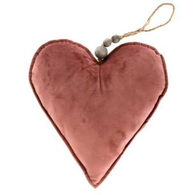 VELVET HEART ORNAMENT, ROSE, LARGE