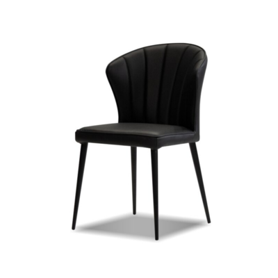 TRITON LEATHER DINING CHAIR, BLACK