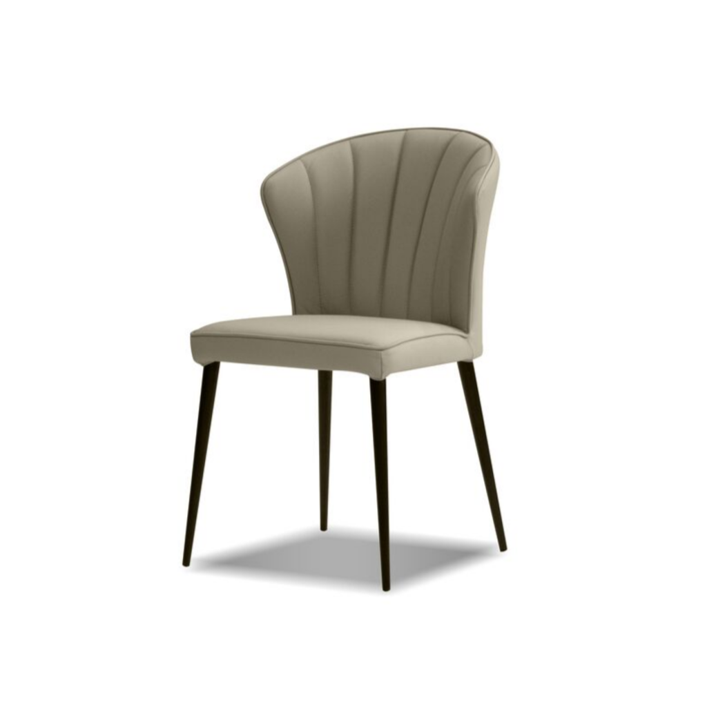 TRITON LEATHER DINING CHAIR, PEWTER