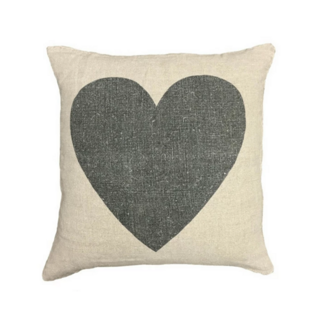 SugarBoo BLACK HEART LINEN PILLOW