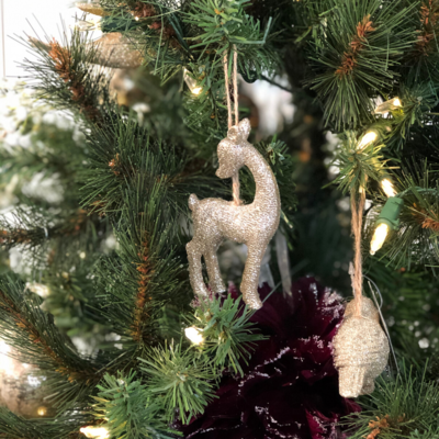 Option 2 Silver Tree (Group One) CHAMPAGNE GLITTER DEER
