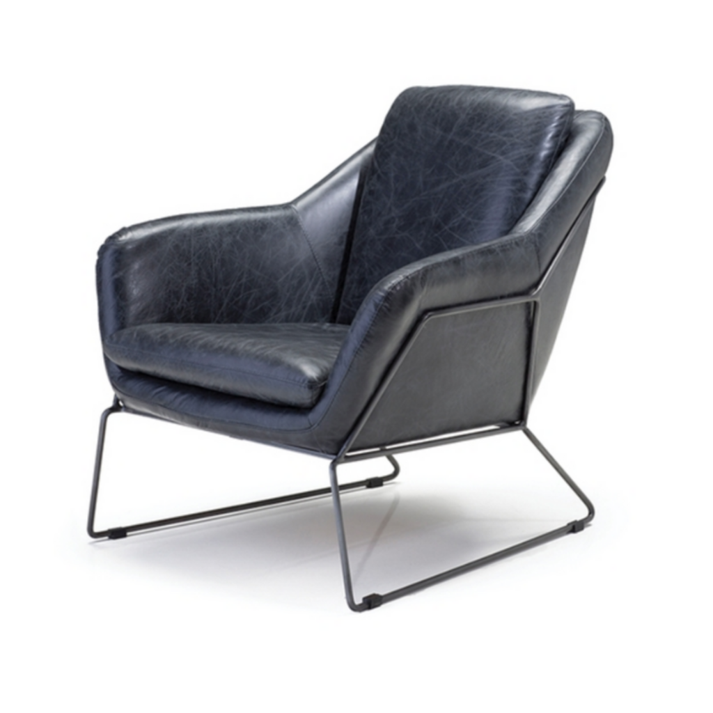 BANFF ARM CHAIR, ANTIQUE BLACK LEATHER