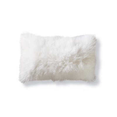 MONGOLIAN PILLOW, NATURAL WHITE 12 X 25""