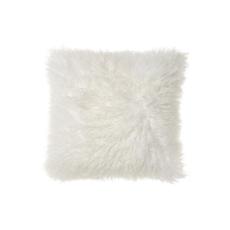 "MONGOLIAN SHEEPSKIN PILLOW, NATURAL WHITE 18 X 18"""