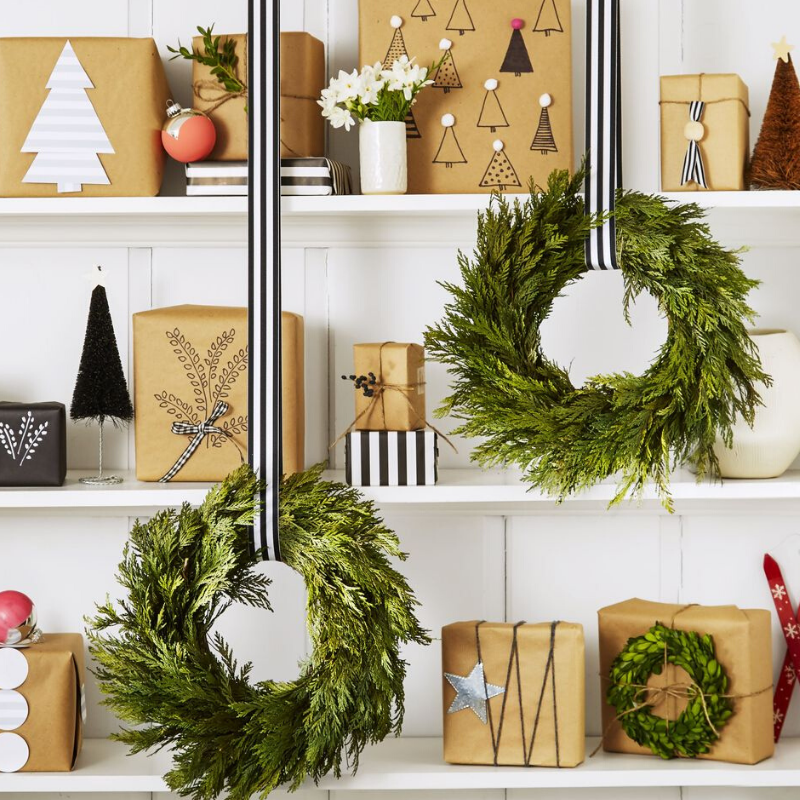 Shelfie with wrapped gifts