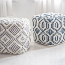 Style in Form BOHEMIAN POUF AGRA, BLUE AND WHITE