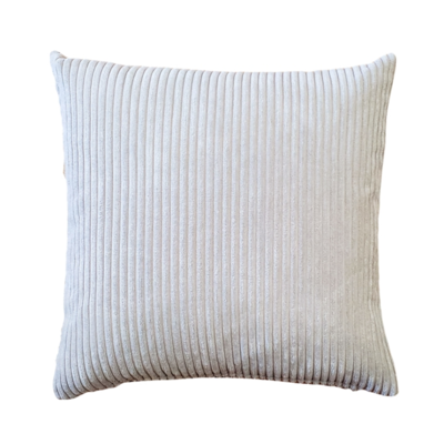 CORDUROY PILLOW, OYSTER, 22 X 22