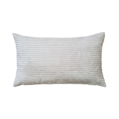 CORDUROY PILLOW, OYSTER, 12 X 20