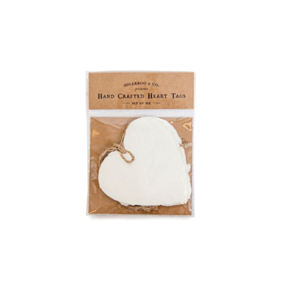 SugarBoo DECKLED HEART TAGS, S/6
