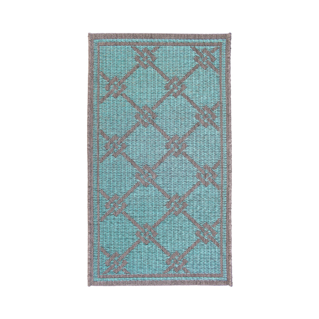BRICS TURQUOISE IN/OUT RUG, 6 X 9'