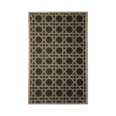 MONACO GRIFFIN BLACK/TAUPE IN/OUT RUG, 6 X 9'