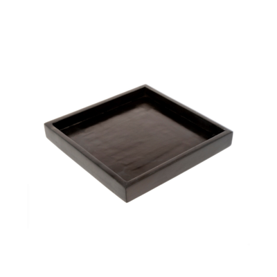 SQUARE BLACK STONE TRAY, SMALL