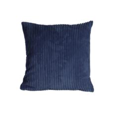 CORDUROY PILLOW, DARK BLUE, 18 X 18