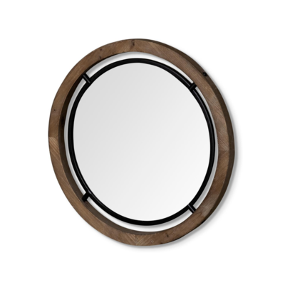 JOSI WOOD AND METAL MIRROR, 28""