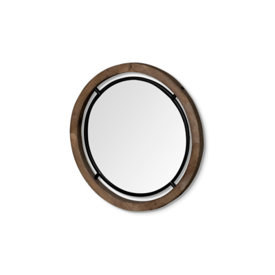 JOSI WOOD AND METAL MIRROR, 19""