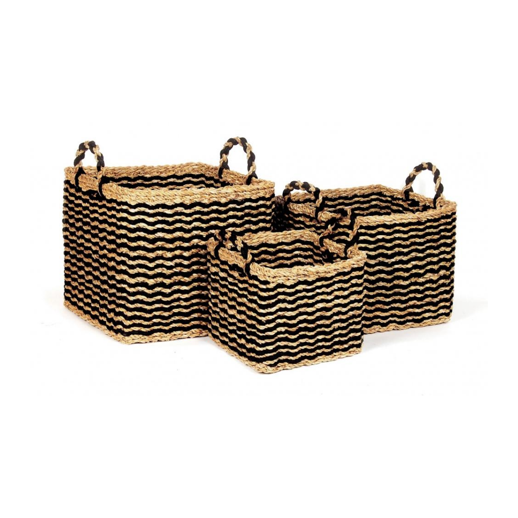 Bacon SQUARE SEAGRASS BLACK BASKETS, LARGE