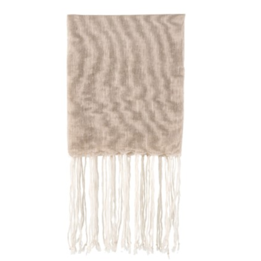 FRINGED LINEN THROW, NATURAL