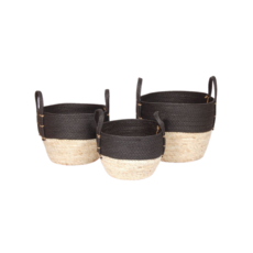 Bacon BLACK/NATURAL STRAW BASKET, SMALL