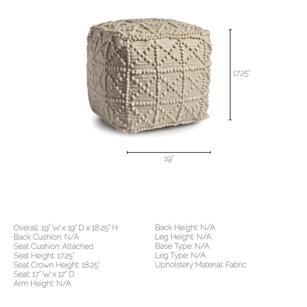 ROLY IVORY WOOL POUF