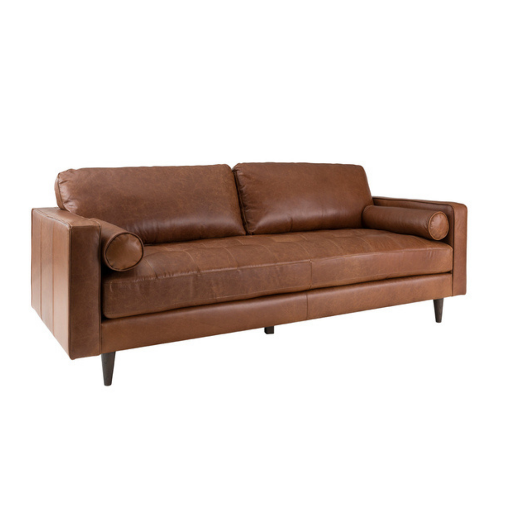 HENNESSEY SOFA, CARAMEL TAN LEATHER