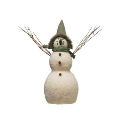 Creative Coop SNOWMAN WITH TWIG ARMS, LG
