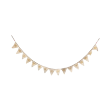 Creative Coop WOOL PENNANT BANNER with SNOWFLAKES, CREAM & GOLD