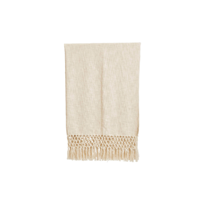 Creative Coop WOVEN COTTON THROW, CREAM