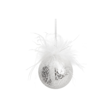 SPARKLY GLASS ORNAMENT WITH FEATHERS
