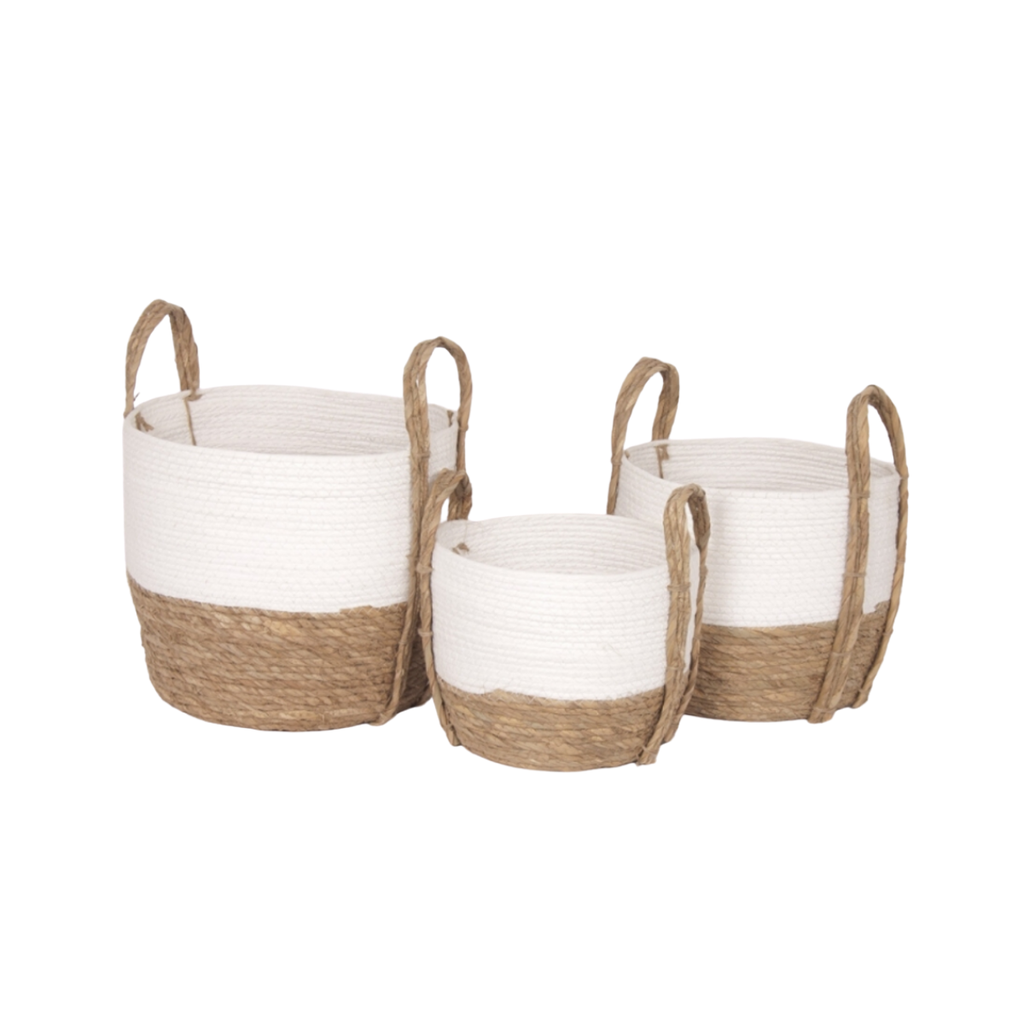 Bacon STRAW BASKET, WHITE/MEDIUM