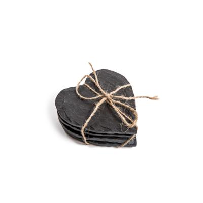 SugarBoo HEART COASTERS, BLACK SLATE S/4