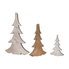Creative Coop WOOD TREES WITH GOLD, SET OF 3
