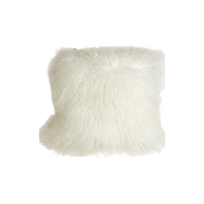 MONGOLIAN SHEEPSKIN PILLOW, SNOW WHITE