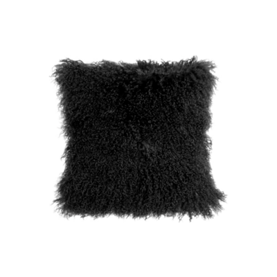 MONGOLIAN SHEEPSKIN PILLOW, BLACK