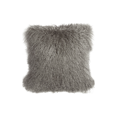 MONGOLIAN SHEEPSKIN PILLOW, GREY