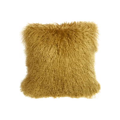 MONGOLIAN SHEEPSKIN PILLOW, SOFT GOLD