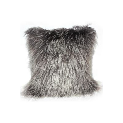 MONGOLIAN SHEEPSKIN PILLOW, FROSTED GREY