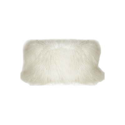 "MONGOLIAN SHEEPSKIN PILLOW, SNOW WHITE, 13"" x 25"""