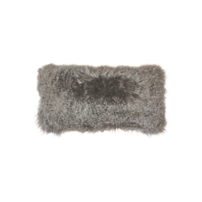 "MONGOLIAN SHEEPSKIN PILLOW, GREY, 13"" X 25"""