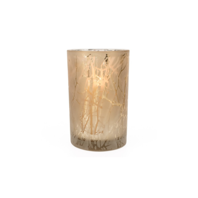 """Torre Tagus BRANCH SILHOUETTE ETCHED HURRICANE VASE, 4"""" x 5""""H"""