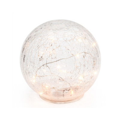 Torre Tagus CRACKLE GLASS LED SPHERE, 8""