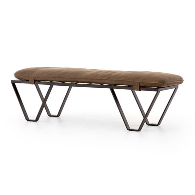 Four Hands DARWIN BENCH, BROWN LEATHER
