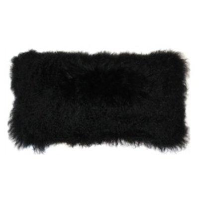 MONGOLIAN SHEEPSKIN PILLOW, BLACK