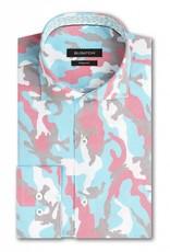 Bugatchi Turq Camo L/S Shaped Fit Shirt