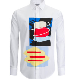 Bugatchi Shaped Fit White Graphic Long Sleeve Shirt