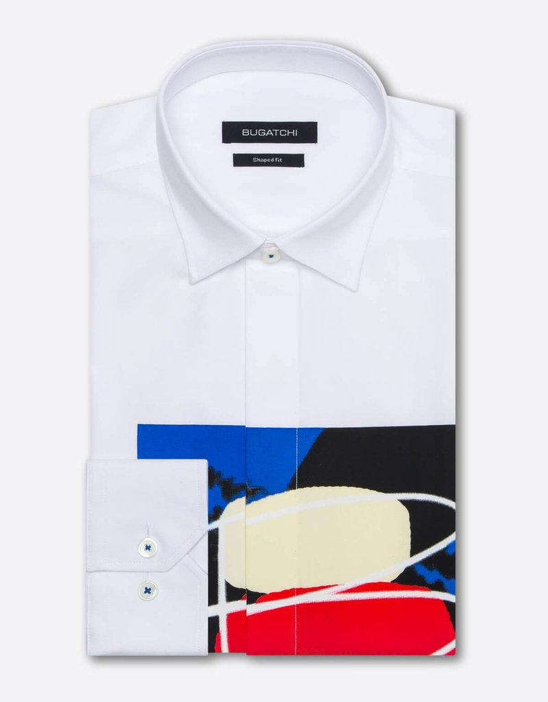 Bugatchi Bugatchi Shaped Fit White Graphic LS Shirt