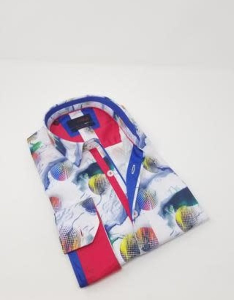 Eight X White w/Color Spheres Long Sleeve Shirt