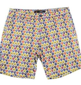 Eight X Yellow Retro Print Shorts