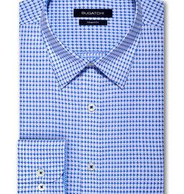 Bugatchi Shaped Fit Blue Cross LS Shirt