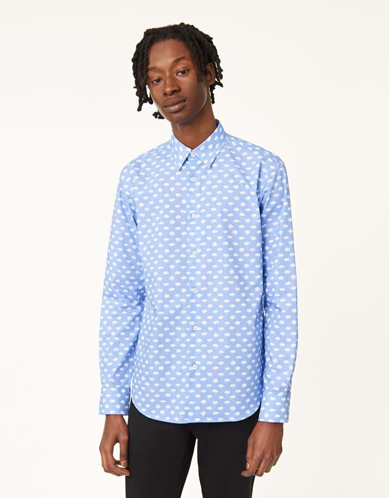 Bugatchi Shaped Fit Blue Clouds LS Shirt